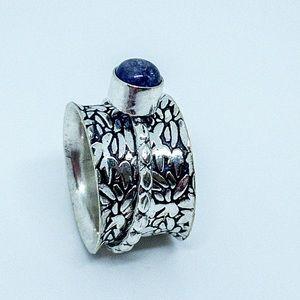 Spinner Amethyst Silver Cigar Band Mediation Ring